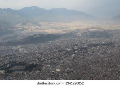 Kathmandu, Nepal - February 27 2019: A view of the Kathmandu City at the take off from the Tribhuvan International Airport