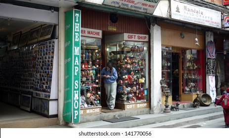 KATHMANDU, NEPAL - JANUARY 21: the local products shops for tourist in Thamel on 20 Jan 2013.Tourism is the largest industry in Nepal, and the largest source of foreign exchange