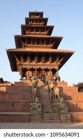 KATHMANDU, NEPAL - JANUARY 23, 2017: People walking at ancient famous Nyatapola Temple on Durbar square