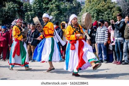 Kathmandu, Nepal- January 25. 2020: Tamang community Female Jhankri performing jhankri dance during Sonam Lhosar, Kathmandu.