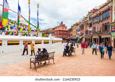 Kathmandu, Nepal - July 15, 2018 : View over Boudhanath ( Boudha ) Stupa, a UNESCO heritage site and an important place of pilgrimage and worship for Buddhists all over the world.