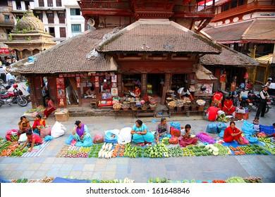 KATHMANDU, NEPAL - JUNE 2013: Everyday scene at Durbar Square