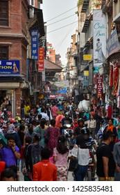 Kathmandu / Nepal - June 21 2018: Busy main street in the city center of Kathmandu, Nepal capital