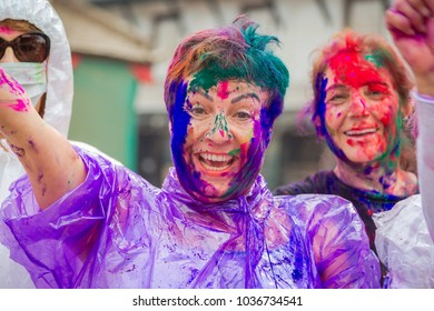 """Kathmandu Nepal -Mar 1,2018: Hol is a Hindu spring festival celebrated mainly in Nepal and India.Holi,It is also known as the """"festival of colours"""". It signifies the victory of good over evil."""