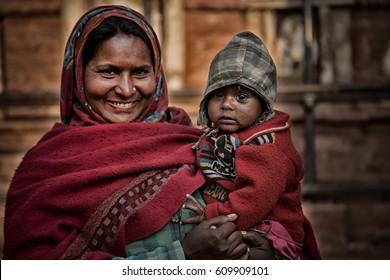 KATHMANDU, NEPAL - Mar 20, 2017 : Portrait old women in traditional dress in street Kathmandu, Nepal.