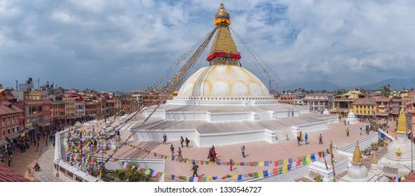 Kathmandu, Nepal - March 01, 2014 : Buddhist Boudhanath Stupa in Kathmandu, Nepal