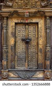 Kathmandu (Nepal) - March 16th, 2019: Patan Durbar Square. Mul Chowk courtyard. Detail of a door