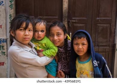 KATHMANDU, NEPAL - MARCH 22 , 2015 cute children nepalese at the Boudhanath stupa , Kathmandu, Nepal