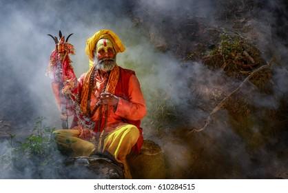 KATHMANDU, NEPAL - MARCH 22 2017: Yogi in Pashupatinath Temple of Kathmandu,