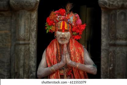 KATHMANDU, NEPAL - MARCH 22 2017: Yogi in Pashupatinath  ,Temple nepal of Kathmandu