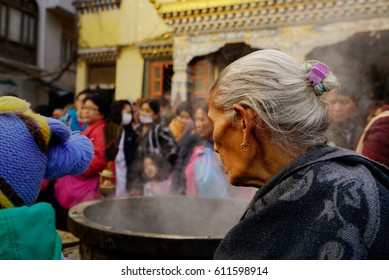 Kathmandu, Nepal - March 23, 2017: Good people have faith in the Buddha. walking around the Boudhanath Temple in Kathmandu.