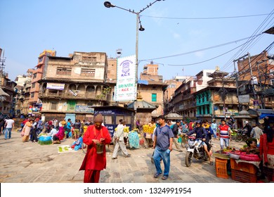 KATHMANDU, NEPAL - MAY 03, 2014: Market streets activity near Durbar Sqaure crowded with vendors and pedestrians