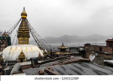 Kathmandu, Nepal - May 03 2018: View to Boudnath Pagoda over the roofs