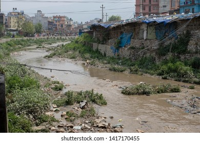 Kathmandu Nepal - May 31, 2019: A view of Bishnumati River that runs through Kathmandu, Nepal. Kathmandu is considered one of the most polluted cities in Asia.