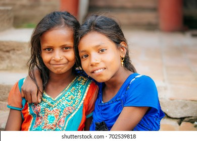 KATHMANDU, NEPAL - MAY 5, 2017 :  Unidentifiy Nepalese girls at Bhaktapur, Heritage site in Kathmandu, Nepal in May 5, 2017.