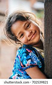 KATHMANDU, NEPAL - MAY 5, 2017 :  Unidentifiy Nepalese girl at Bhaktapur, Heritage site in Kathmandu, Nepal in May 5, 2017.