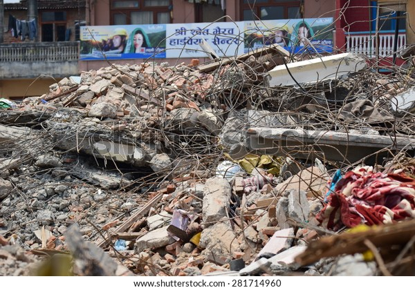 Kathmandu Nepal - May 9 2015 : Collapsed building after earthquake disaster