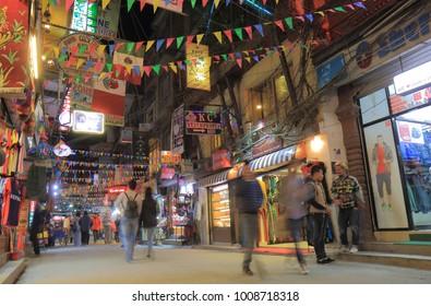 KATHMANDU NEPAL - NOVEMBER 10, 2017: Unidentified people visit Thamel shopping street in Kathmandu Nepal.