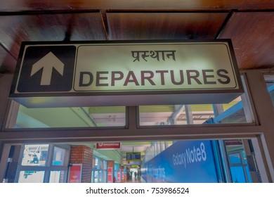 Kathmandu, Nepal, November 15, 2017: Informative sign of departue inside of the Tribhuvan International Airport - Kathmandu.