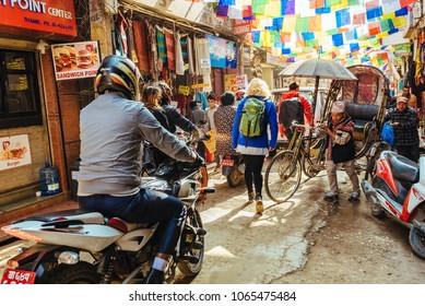 Kathmandu, Nepal - November , 2017 : Local People in the streets of Kathmandu,