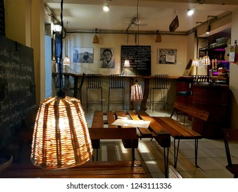 Kathmandu, Nepal - November 27 2018: Interior of a coffeshop in the tourist district of Thamel in Kathmandu