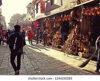 Kathmandu, Nepal - November 29 2018: People walking in the busy streets of Kathmandu old town in Nepal capital city.