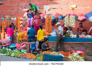 Kathmandu , Nepal - November 3, 2013: Vegetable market at the Durbar Square on November 3, 2013 in Kathmandu, Nepal. This square was almost completely destroyed in the earthquake of 25 April, 2015