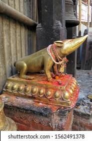 KATHMANDU, NEPAL — NOVEMBER 3, 2019: Golden statue of famous mouse (rat) named Mooshakraja,vehicle of Hindu deity Ganesha, located at Durbar Square