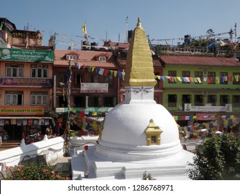 Kathmandu, Nepal, November 7, 2014. Small Stupa and Souvenir Shops near Boudhanath Stupa in Kathmandu, Nepal on November 7, 2014.