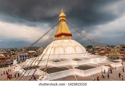 Kathmandu, Nepal - Oct 12, 2018: Boudha, Bodhnath or Boudhanath stupa with prayer flags, the biggest Buddhist stupa and major tourist attraction in the city of Kathmandu, Nepal.