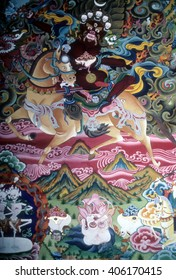 KATHMANDU, NEPAL - OCT 14, 1987 - Thanka painting of Tibetan Buddhist guardian spirit in monastery in Kathmandu,Nepal, Asia