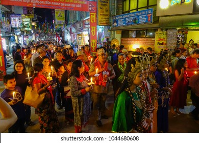 Kathmandu, Nepal - Oct 18, 2017. Local people in traditional clothes during a local festival at Thamel District in Kathmandu, Nepal.