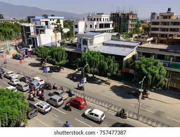 Kathmandu, Nepal - Oct 18, 2017. Main street at downtown in Kathmandu, Nepal. Kathmandu is the largest metropolis in Nepal, with a population of 1.4 million in the city proper.