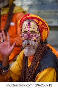 KATHMANDU, NEPAL- October 17, 2014- A Hindu Holy Man (Sadhu) in the temple district of Pashupatinath, in Kathmandu, Nepal.