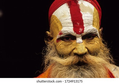 Kathmandu, Nepal- October 2007: A portrait of a holy man in Kathmandu, Nepal