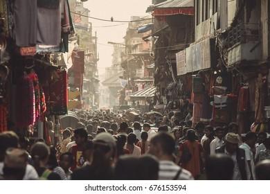 KATHMANDU, NEPAL - OCTOBER, 2011 - Asian street life. One of the crowded streets on October 10, 2011 in Kathmandu Nepal.