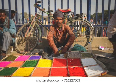 KATHMANDU, NEPAL - OCTOBER 21, 2012: Coloured powders for the Dashain festival in kathmandu, Nepal