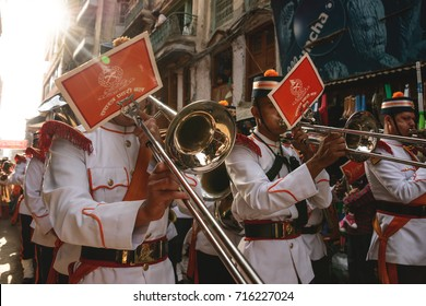 KATHMANDU, NEPAL - OCTOBER 21, 2012: A Nepalese military parade marching through the streets of Durbar Square on the 7th day of the Dashain festival