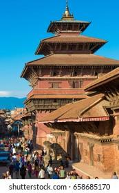 Kathmandu, Nepal- October 23, 2014: People visit Kathmandu Durbar Square.
