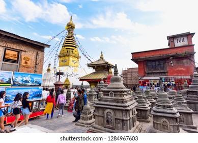 Kathmandu, Nepal - October 23, 2018: View of Ancient Stone Stupas and the Swayambhunath Stupa in Kathmandu City
