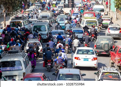 KATHMANDU, NEPAL - OCTOBER 25, 2016 : View of traffic jam on the day time in Kathmandu, Nepal. Crowded traffic jam road in city