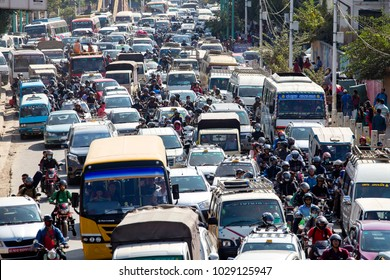 KATHMANDU, NEPAL - OCTOBER 25, 2016 : View of traffic jam on the day time in Kathmandu, Nepal. Crowded traffic jam road in city