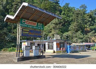 Kathmandu, Nepal, October, 28, 2012, Nepali  Scene: auto-filling station on the route Kathmandu-Pokhara