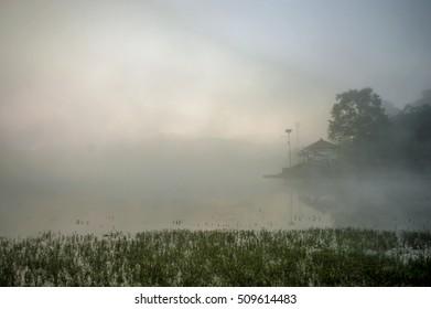 Kathmandu, Nepal - OCTOBER 29, 2016: Sunrise at Taudaha Lake.