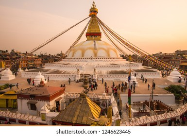 Kathmandu, Nepal : October-17-2018 : Panorama view of Boudhanath Stupa the largest stupas in the world located in Kathmandu the capital city of Nepal at sunset.