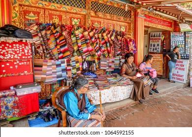 Kathmandu, Nepal - September 21, 2016: Street vendors selling traditional handicrafts near Boudha Stupa View Guest House at Kathmandu, Nepal, Asia
