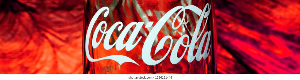 Kathmandu Nepal September 27, 2018.: Closeup of a classic Coca Cola glass bottle sold in Kathmandu, Nepal