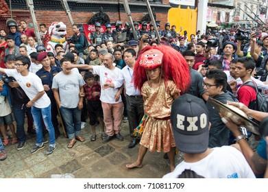"KATHMANDU, NEPAL, SEPTEMBER 5th, 2017 : The Majipa Lakhey - ""Manjusri city demon"", performs a ceremonial dance during the Indra (Kumari) Jatra festival at Durbar Square."