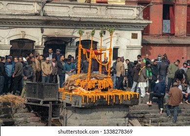 Kathmandu, Nepal-January 12, 2019: Pashupatinath temple is one of the  biggest Hindu temple in Nepal.Cremation ceremony takes place in this temple everyday.
