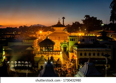KATHMANDU, NEPAL-October 8,2018: Devotees at Pashupatinath Temple at Night in Bagmati River,Kathmandu. This is the most sacred religious hindu temple in the world. Famous Hindu Shrine.